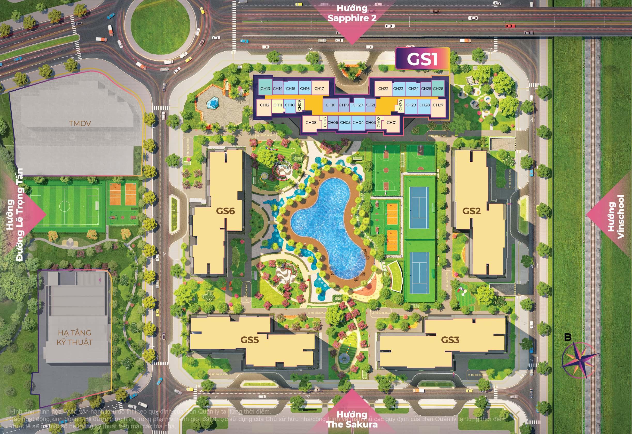 Thiết kế của The Miami mang phong cách sôi động, nghỉ dưỡng đậm chất Mỹ với hồ bơi rộng hơn 1.000 m2 cùng hệ thống liên hoàn 9 sân thể thao.